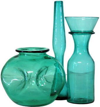 Trio Of Vintage Glass Vases In Sea Green By The Blenko Glass Co